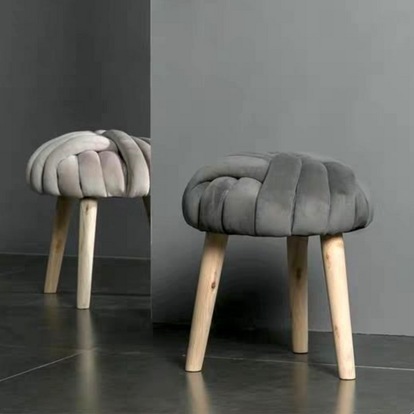 RIVET Modern Velvet Cushion Stool