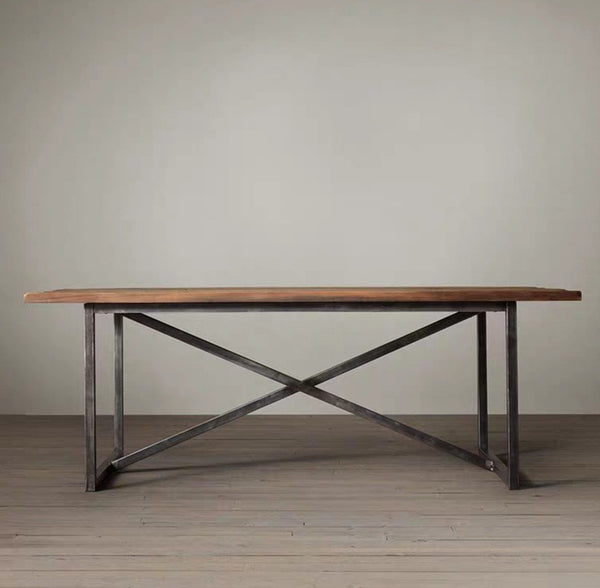 DAWSON Modern Industrial Solid Wood Table