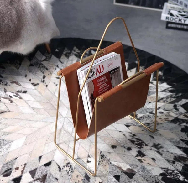 DENNY Faux Leather Magazine Rack