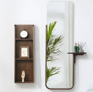 IMOGEN Minimalist Solid Oak Wall Mirror Shelf