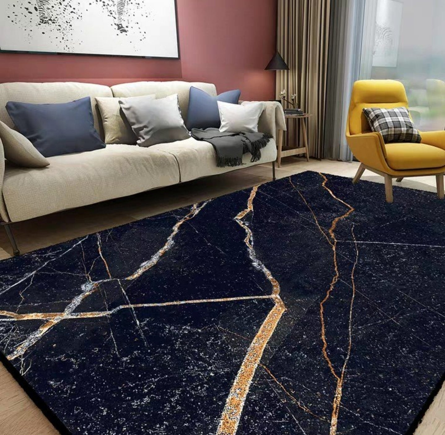 ASHER Luxury Gold Marble Floor Rug