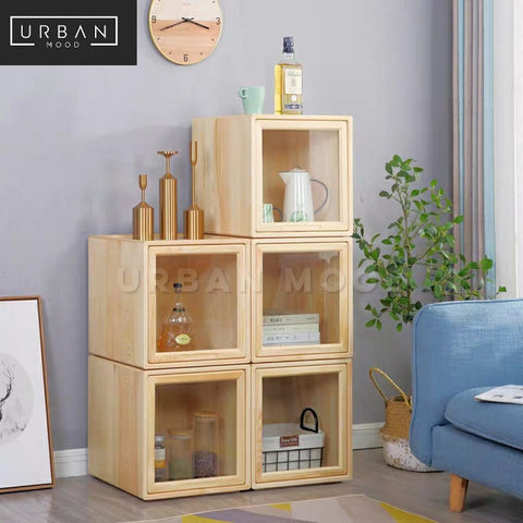 SOLDER Solid Wood Modular Display Cabinet