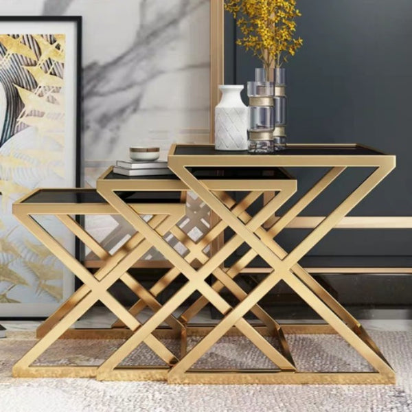 SPHINX Gold Wireframe Side Table Set