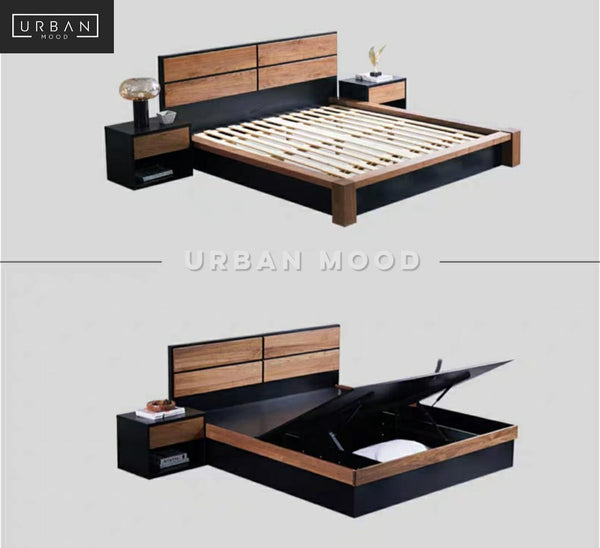 STEVO Black Walnut Storage Bedframe