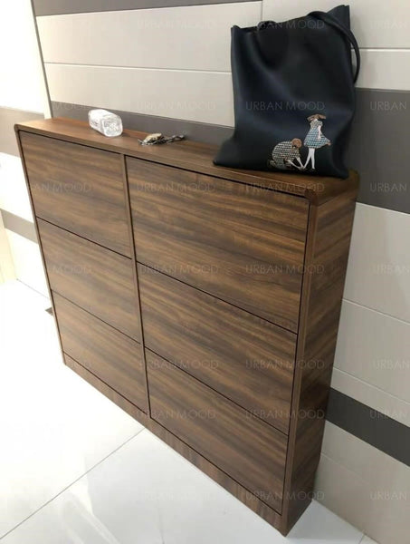 THEO Ultra Slim Walnut Shoe Cabinet