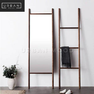 RYAN Rustic Standing Mirror & Ladder Shelf