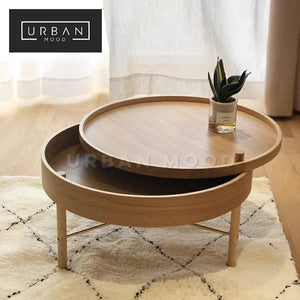 VERNON Round Oak Storage Coffee Table