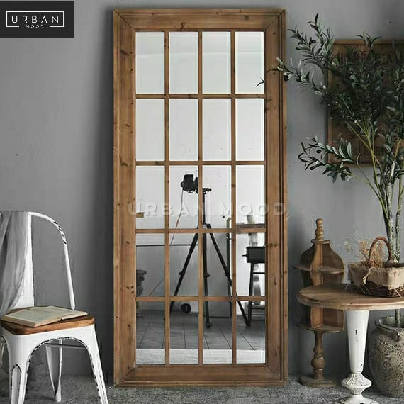 GASTON Rustic Windowgrill Standing Mirror