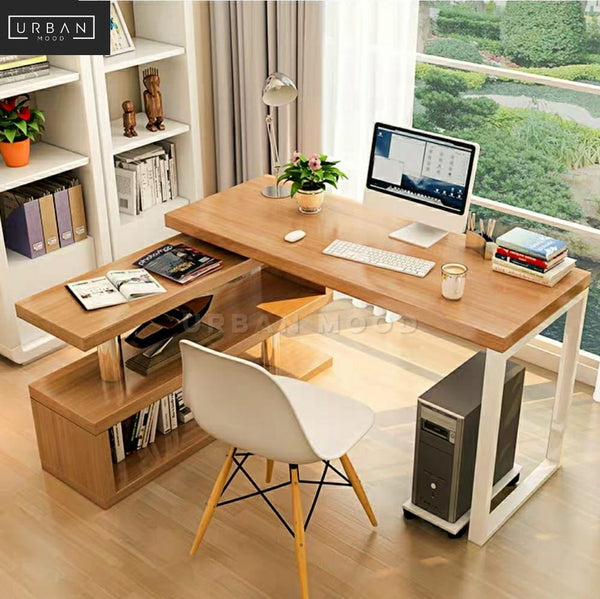PLEX Scandinavian Study Table & Shelf