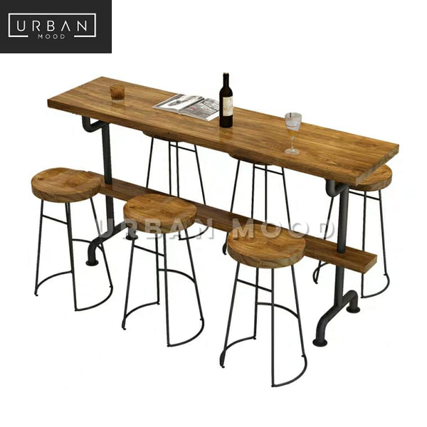 LOREN Industrial Solid Wood Bar Table