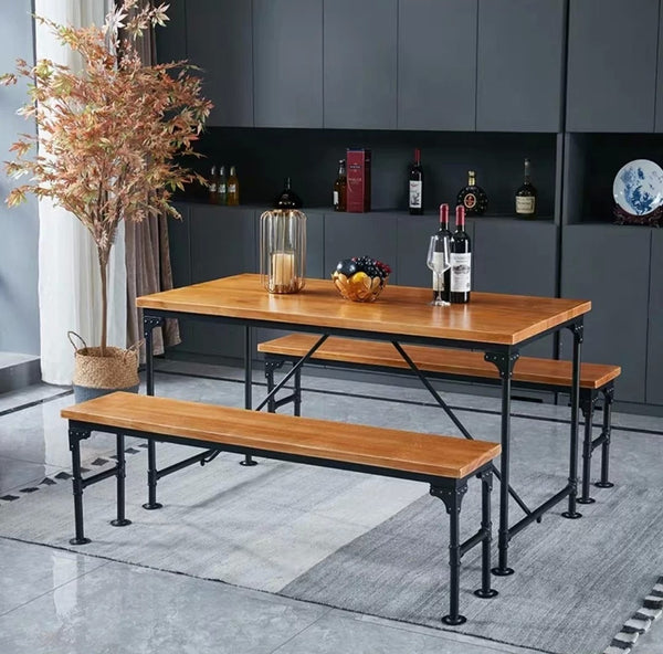 ARTHUR Industrial Solid Wood Dining Table & Bench
