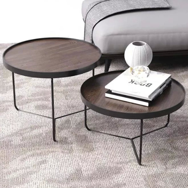 CYPRESS Solid Wood Round Nesting Coffee Tables