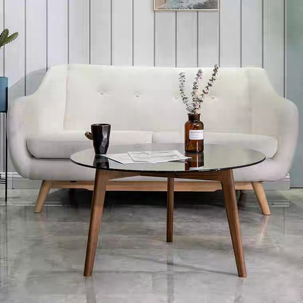 DUMO Round Glass Solid Wood Coffee Table