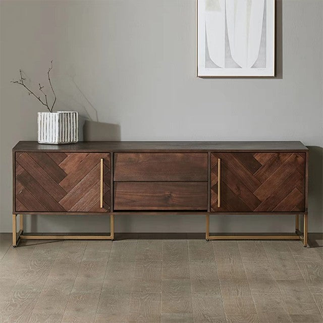 ELODIA Herringbone Acacia Wood TV Console