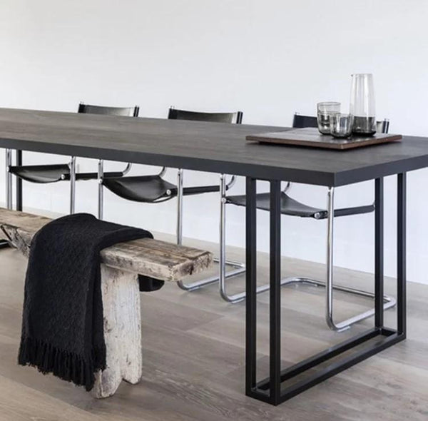 HALEY Modern Industrial Solid Wood Dining Table