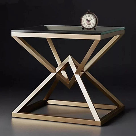 IDRIS Luxury Golden Pyramids Bedside Table