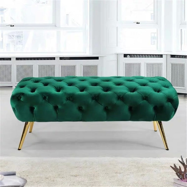 JANESS Velvet Tufted Button Ottoman Bench