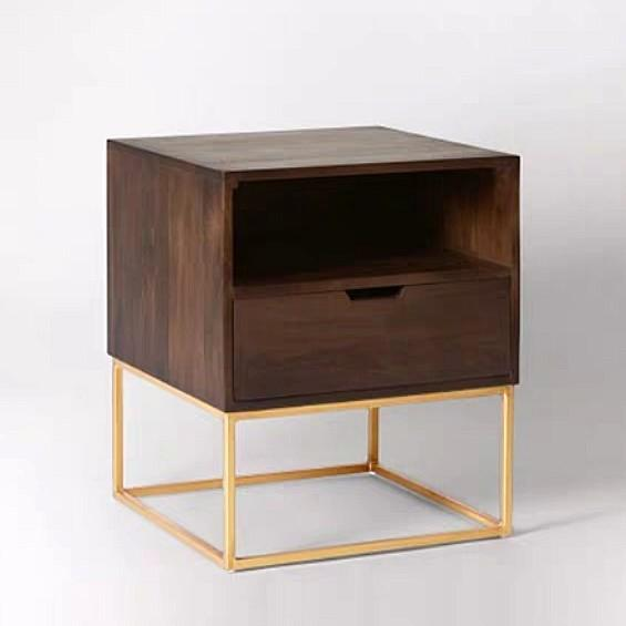 JOLAN Rustic Solid Wood Bedside Table