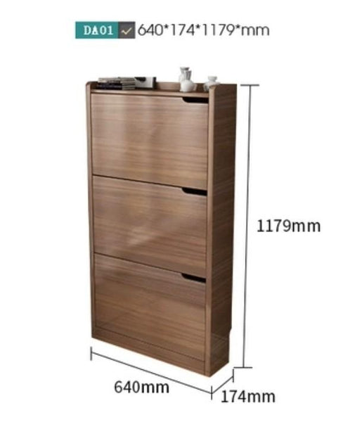 MASON Walnut Ultra Slim Shoe Cabinet