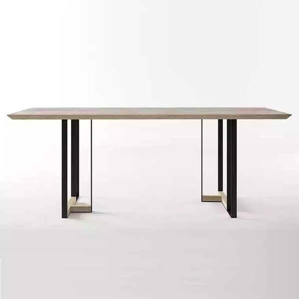 RECON Postmodern Solid Elm Wood Dining Table