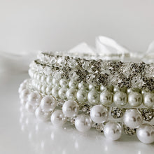 Load image into Gallery viewer, Pearl and Diamante Stefana Crowns - Orthodox Wedding Crowns