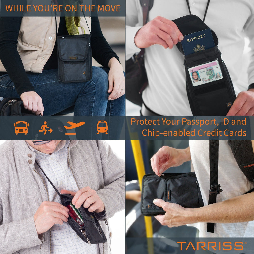 d7db78b2f380 RFID HIDDEN NECK WALLET - Protect Your Money, Credit Cards and Chip Enabled  Passports - Tri-Fold Design - Worn On Top or Underneath Clothing - Great ...