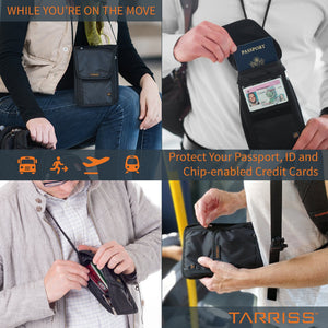RFID Neck Wallet - Protect Your Money, Credit Cards and Chip Enabled Passports - Tri-Fold Design - Worn On Top or Underneath Clothing - Great for Travel, Concerts or Everyday Use