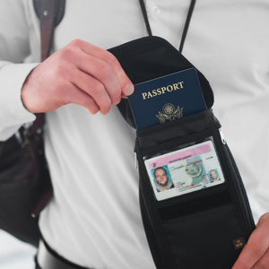 RFID Neck Wallet / Hidden Stash Protects Your Chip Enabled Passport and Credit Cards