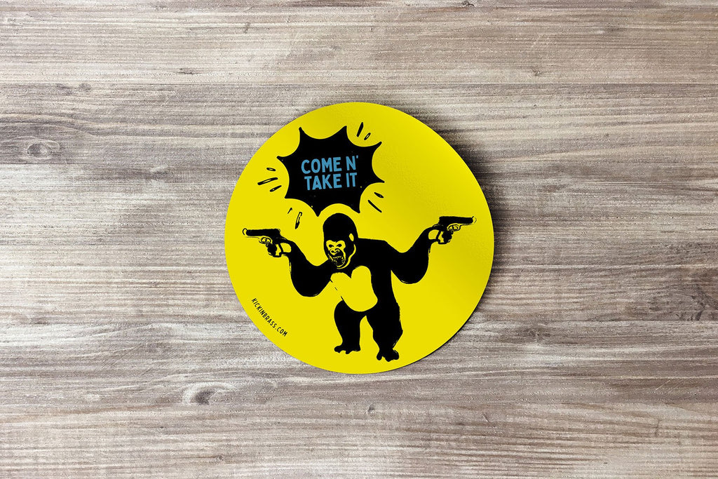 Come N' Take It Gorilla 3x3 Sticker