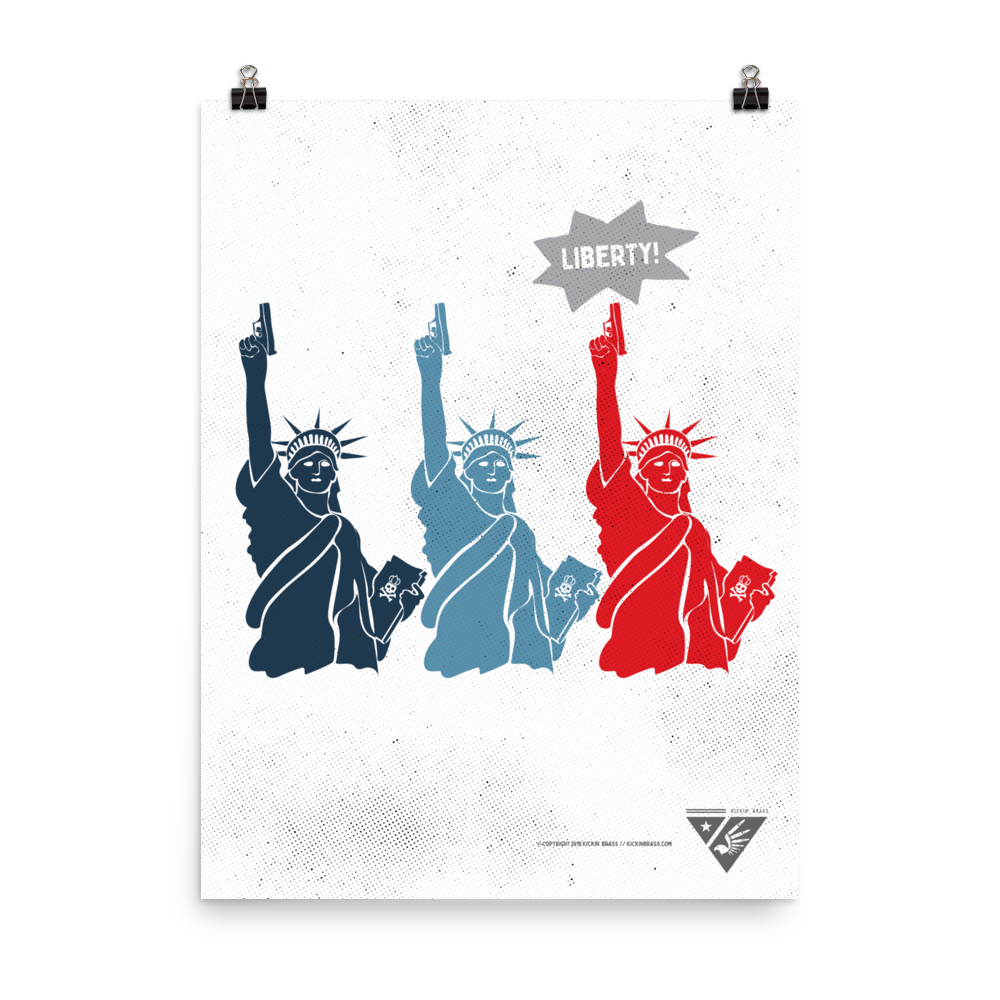 "18""x24"" Red & Blue Liberty Poster"