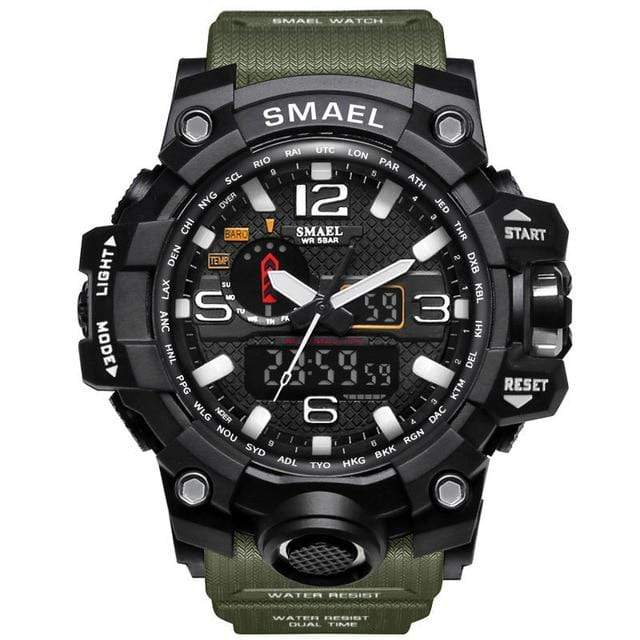 Mighty Shopping Store Army Green / China Men Military Watch 50m Waterproof Wristwatch LED Quartz Clock Sport Watch Male Relogios Masculino 1545 Sport Watch Men S Shock