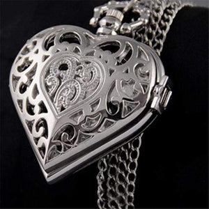 Mighty Shopping Store Heart Shaped watch Silver Unique Heart-Shaped Ladies Necklace Watch