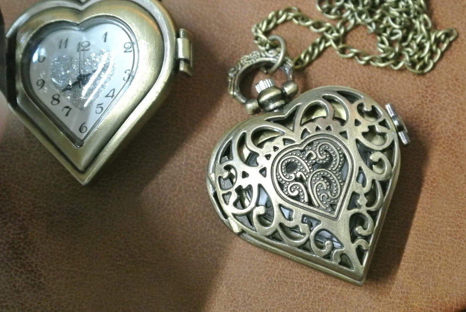 Mighty Shopping Store Heart Shaped watch Unique Heart-Shaped Ladies Necklace Watch