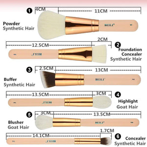 Mighty Shopping Store Makeup Brushes BEILI 15Pcs Pink Rose Gold Makeup brushes Natural goat Pony Hair Foundation blush eye Blending Contour Powder Professional set