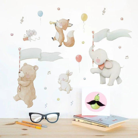 Stickers Muraux Animaux Musiciens