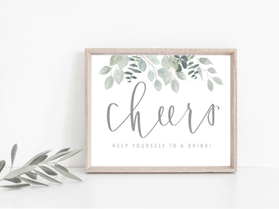 Cheers Drink Sign | Greenery