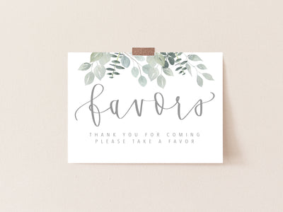 Favors sign | Greenery