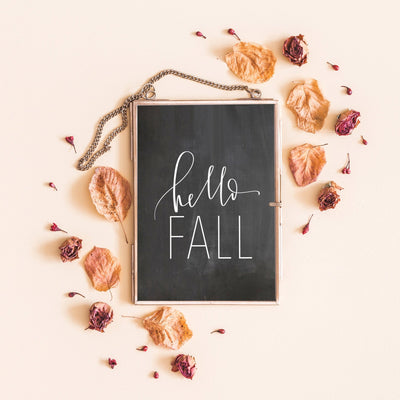 HELLO FALL chalkboard print | Fall Calligraphy Sign| Autumn| Hand lettered | Digital Download | Wall Art | Home Decor | Autumn | Fall Sign |