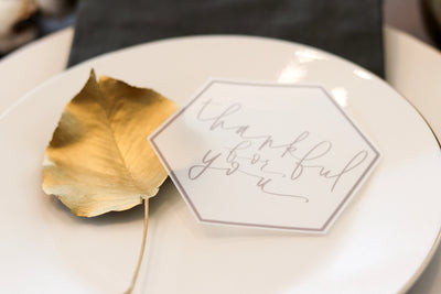 Thanksgiving tags | friendsgiving card THANKFUL for YOU card | Vellum Thanksgiving Card | Modern Calligraphy Card | Tab