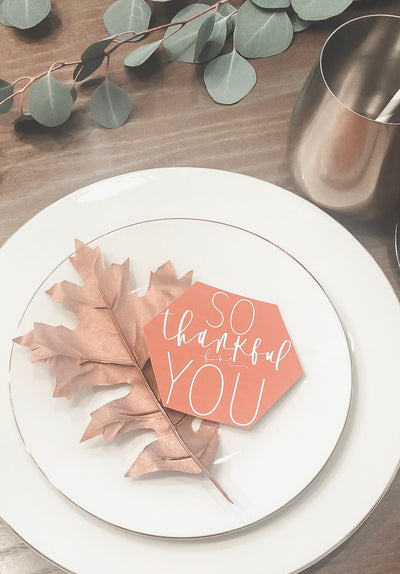 Thankagiving table tag | THANKFUL Thanksgiving CARDS| Friendsgiving | So Thankful for you | Calligraphy Thanksgiving Card | Thanksgiving tab