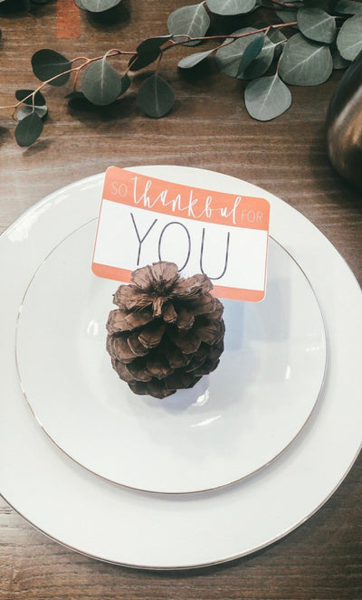 Thanksgiving tags | SO THANKFUL for YOU| Thanksgiving card | Friendsgiving | Thanksgiving table | Fall | Name Tag | Modern Calligraphy