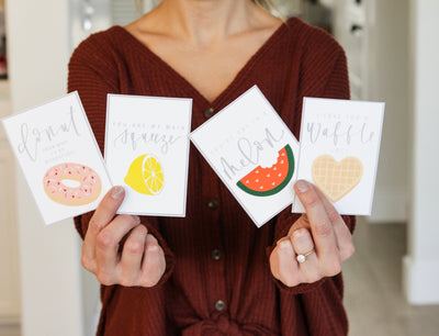 FOOD PUN LOVE notes | Valentines | Lunchbox Notes | Calligraphy Tags | Love Notes | Kids | February| Printable