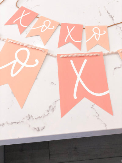 PINK+PEACH BUNDLE Xoxo Valentines Day | Banner, Print, Cupcake Toppers |Galentines | February| Holiday Decor|Calligraphy| Instant Download |