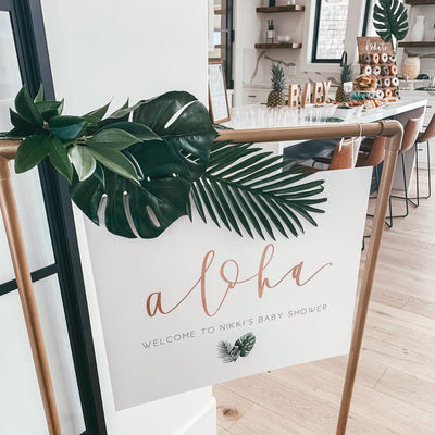 ALOHA WELCOME Party Sign| Tropical Shower | Hawaiian Party| Baby |Bridal|Personalized| Maternity| Mom to Be| Bride | Custom Digital Download