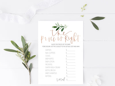 GOLD BABY Shower GAMES | Celebrity Baby Names | The Price is right | 2 Game Pack|  Greenery baby shower| Modern Calligraphy | Maternity