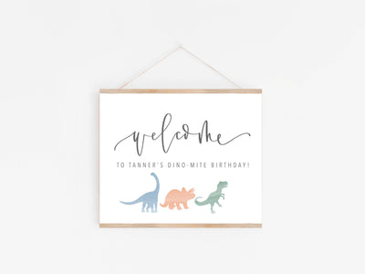 DINOSAUR WELCOME Party Sign | Dino Party Sign | DINO-mite Birthday | T-Rex | watercolor dinosaurs | Welcome Birthday Party Sign