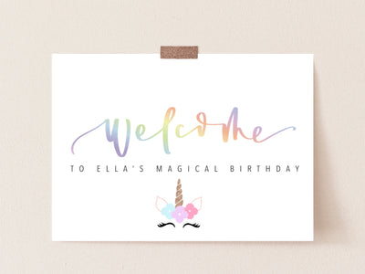 Magical UNICORN party | WELCOME Sign | Rainbow party | Magic Birthday | Welcome Birthday Party Sign | Unicorn Party Print | DIGITAL download