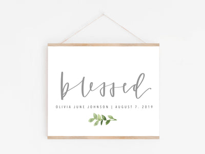 BLESSED baby sign | Baby blessing Print | Blessing Day Sign | Digital Download | Custom name & Date | Newborn | Religious | Blessing Day