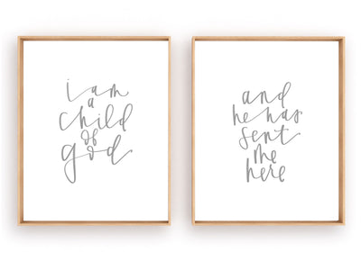 I am a child of God and he has sent me here | Nursery Wall Art | Kids Hymn | Jesus Christ | Christian |Primary |Digital Download | Printable