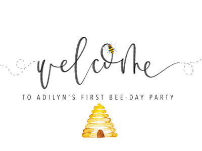 BEE WELCOME Sign | Bee-day | Bee Baby shower Party Sign | Bee Birthday | Honey Bee party | Bee Baby Shower | mama to bee| Little Hunny Bee